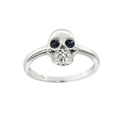 Black CZ Sterling Silver Skull Ring