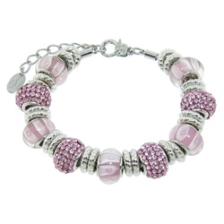 Charmed Links Pink Crystal Bracelet