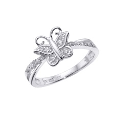 Butterfly Sterling Silver CZ Ring