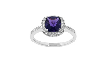 Dark Purple Cushion Cut  Ring