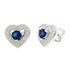 Blue CZ Heart Cutout Earrings