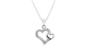 Double Heart Cutout Sterling Silver CZ Necklace