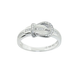 Belt Sterling Silver CZ Ring