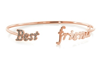 Best Friend Rose Gold Plated Silver Bangle