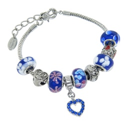 Charmed Links Blue Crystal Heart Bracelet