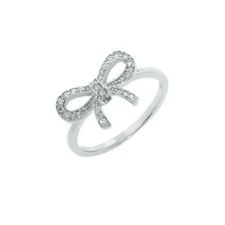 Bow Sterling Silver CZ Ring