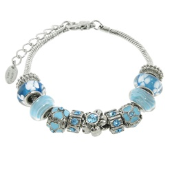 Charmed Links Blue Flower Bracelet