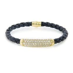 Magnetic Black Leather & Gold Plated Silver CZ Bracelet